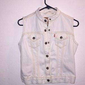 White Levi's  Easy Rider Snap Vest Size Small